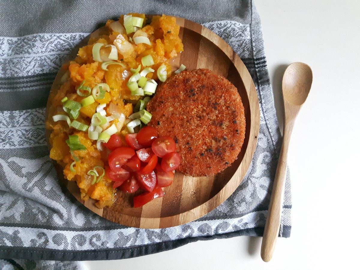 Recept | Pittige stamppot van zoete aardappel & pompoen