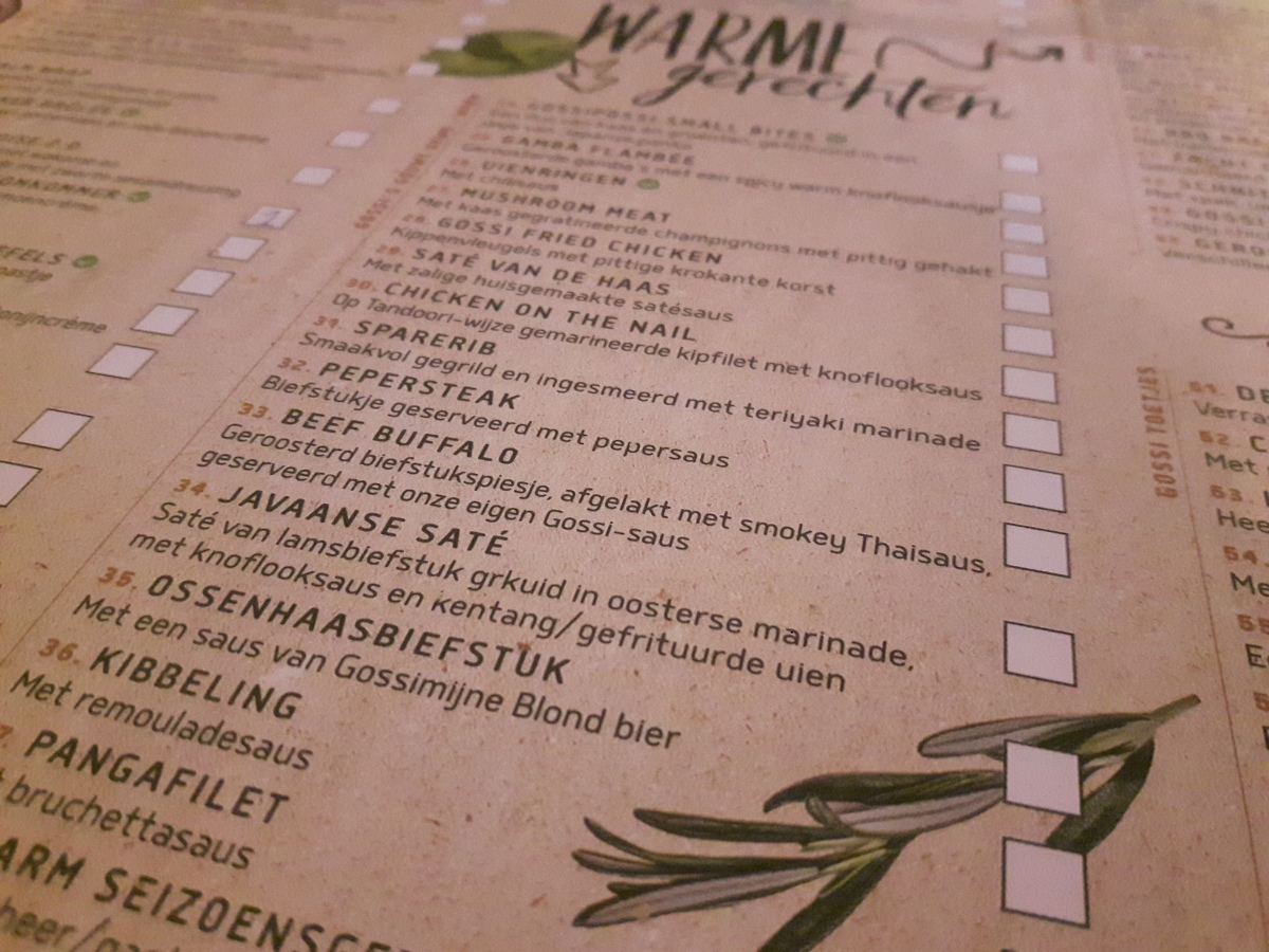 Hotspot | Gossimijne mét de nieuwe menukaart